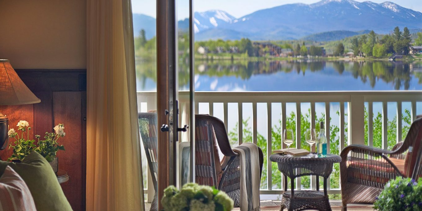 View of the lake and mountains from a suite