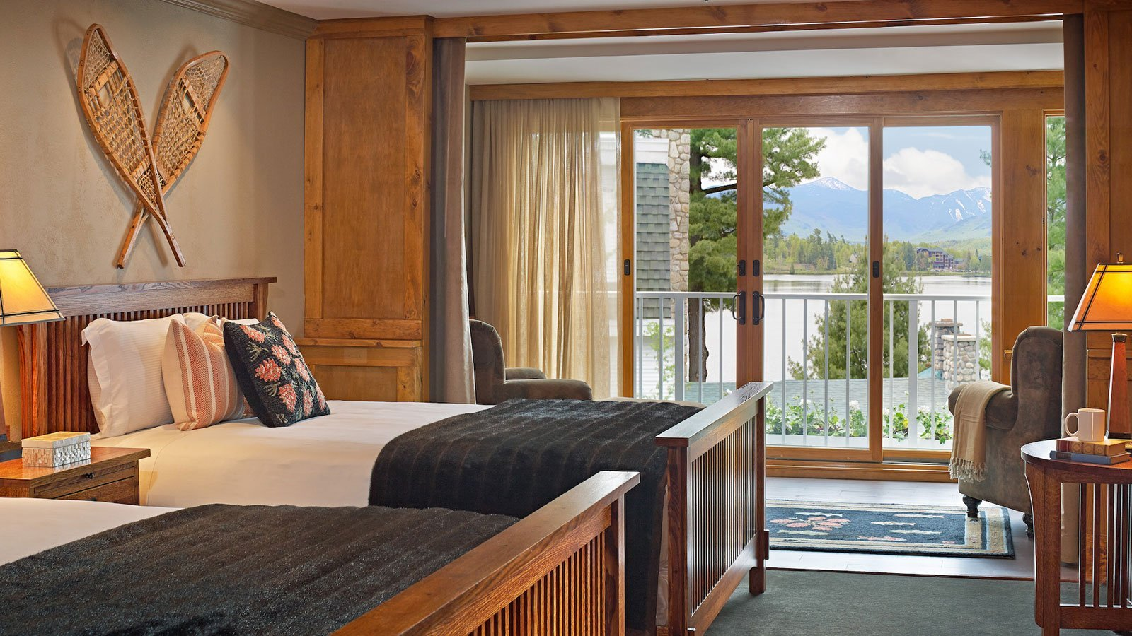 Two queen size beds with view of the lake