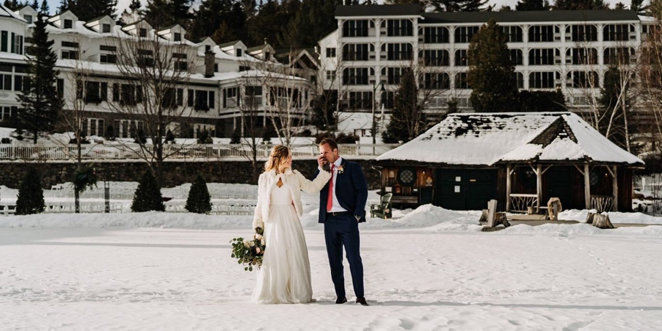 Newlyweds on frozen lake