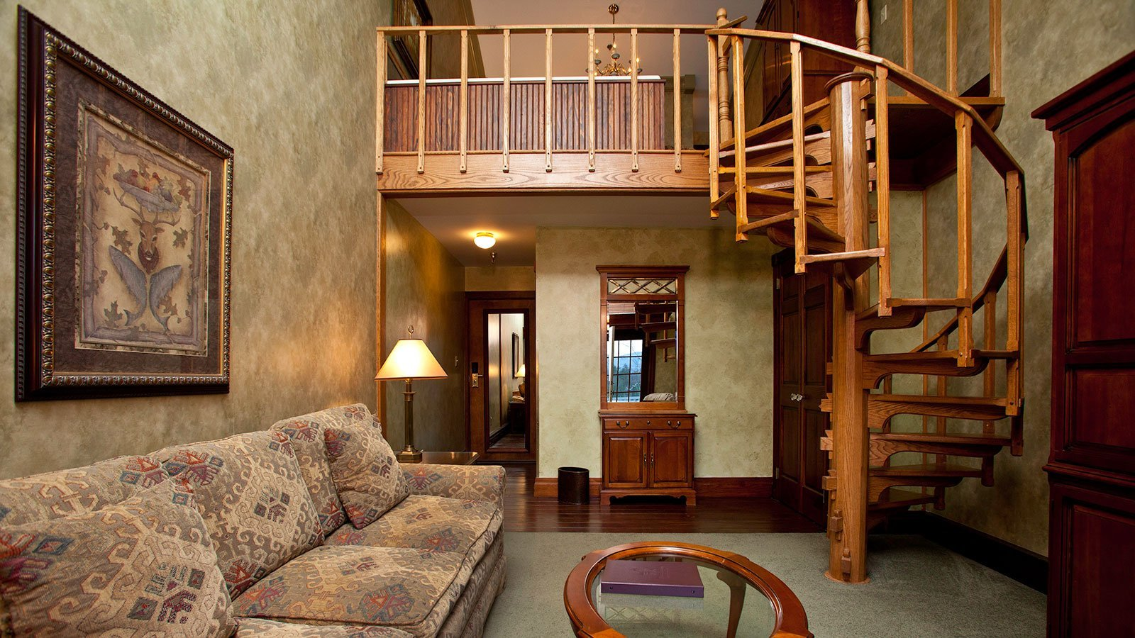 Living room with spiral staircase
