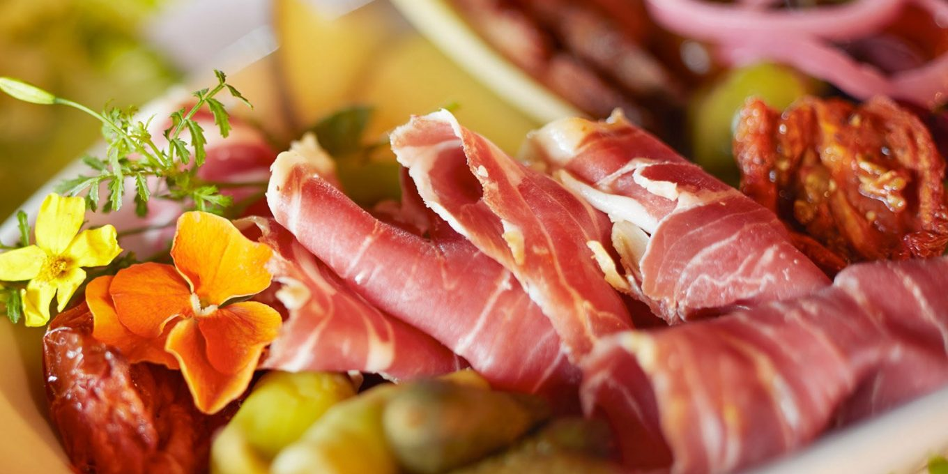 Prosciutto and assortment of hors d'oeuvres