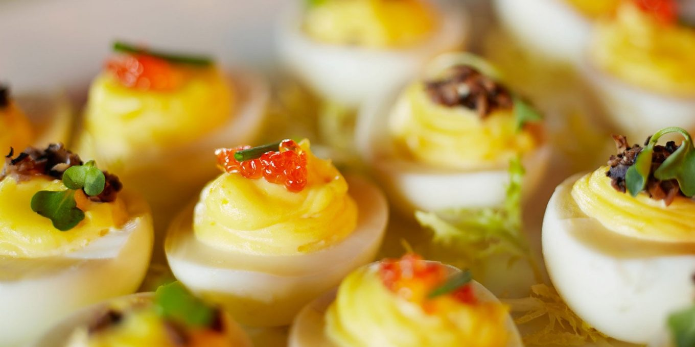 Devilled eggs on plate