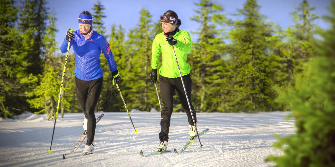 Two women skiing