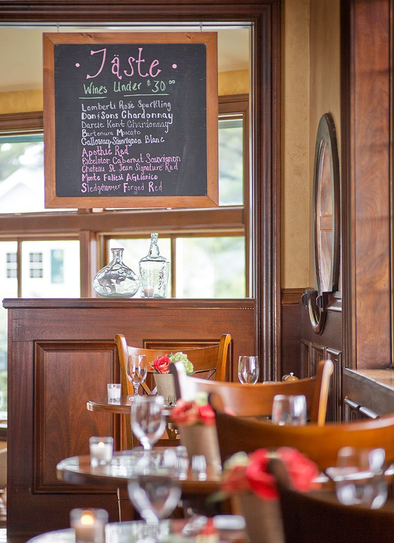 Taste Bistro seating with large wine menu