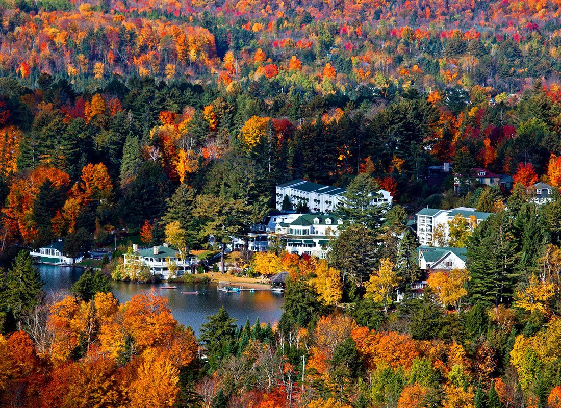 Aerial view of resort in the fall
