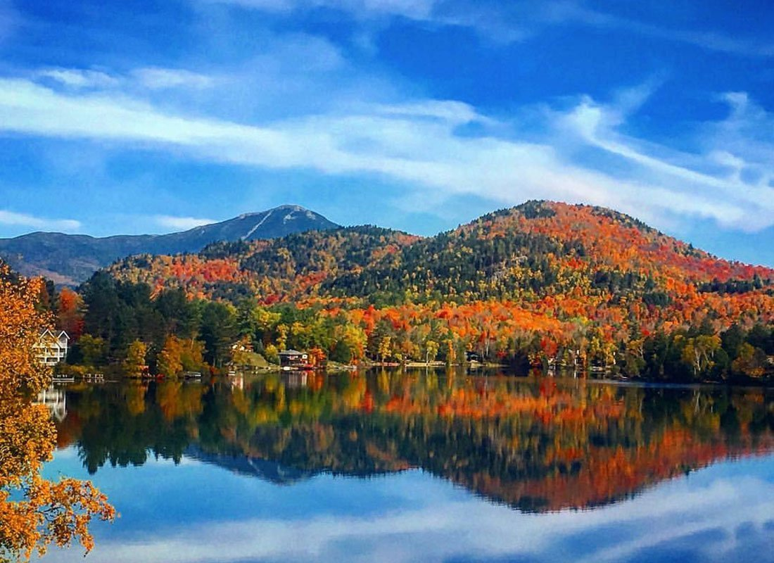Mountain reflecting off lake in the fall