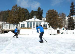 Playing hockey on frozen Mirror Lake
