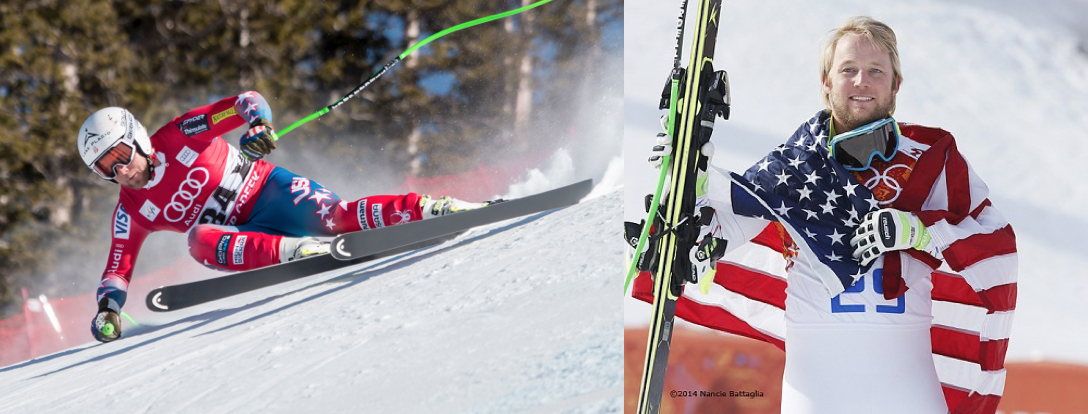 Split screen of athlete Andrew Weibrecht skiing in a competition and posing with his skis and a US flag