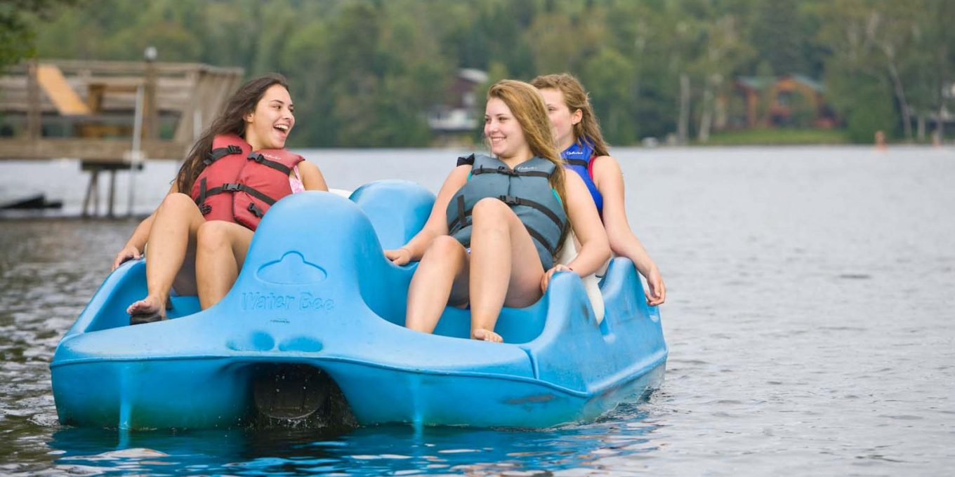 Girls on a paddle boat