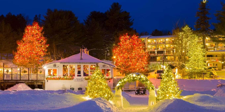 Christmas lights outside the Inn