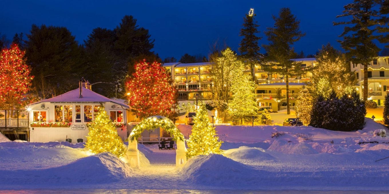 Mirror Lake Inn with holiday lights