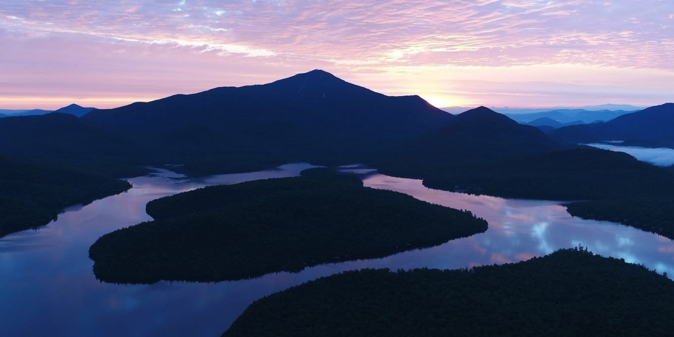 Aerial view of the lake at dusk