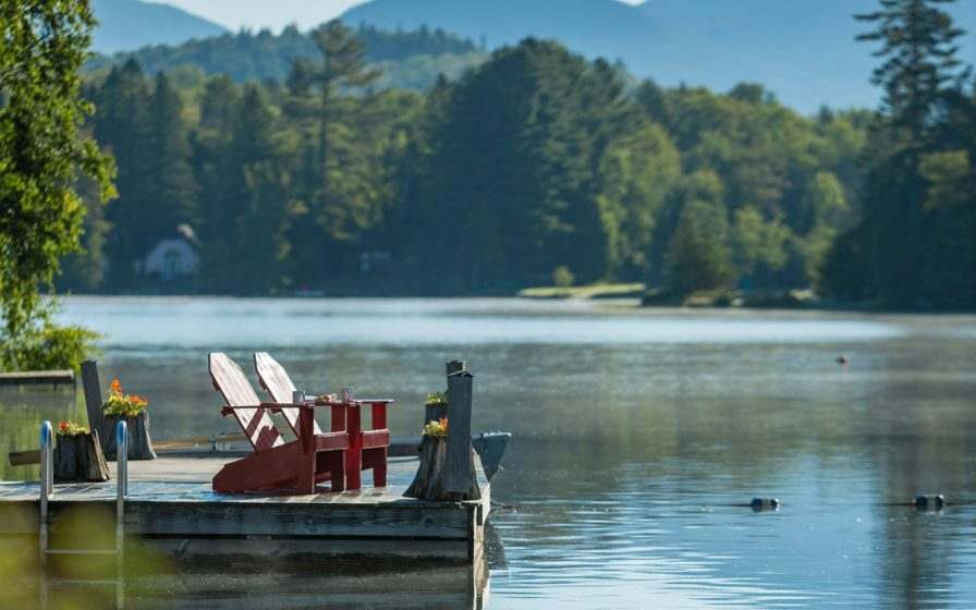 Adirondack chairs on the dock
