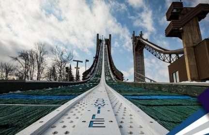 A ski Jumping platform from below
