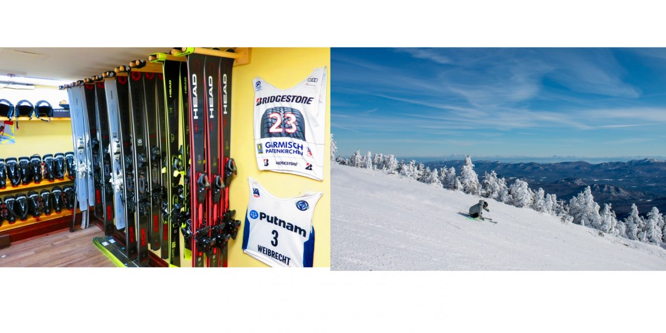 Split screen of ski equipment room and of person skiing on a snowy mountainside