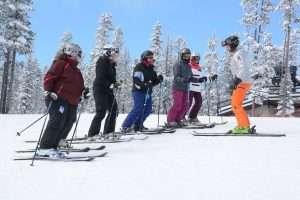 Lisa Ballard teaching ski skills during Women's Ski Clinic