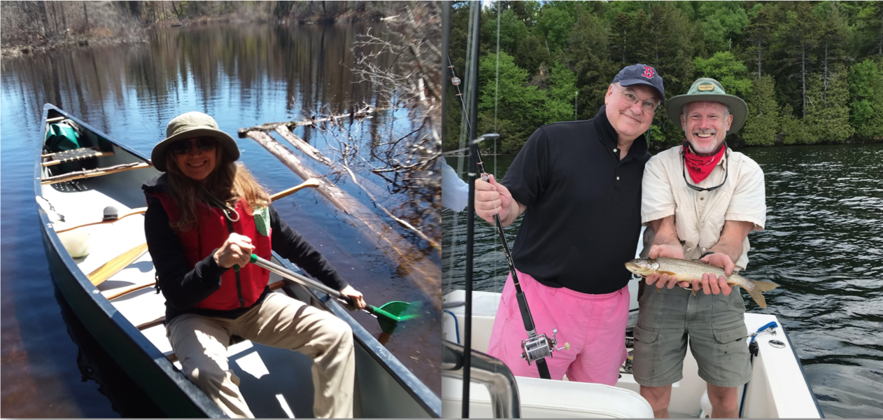 Split screen of a smiling woman in a red life jacket on a canoe and two men posing with a brown trout fish on a boat
