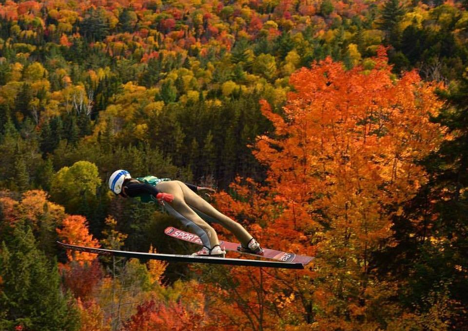 Ski jumper in mid air against autumn leave backdrop