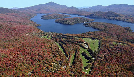 Aerial Adirondack golf club view in fall
