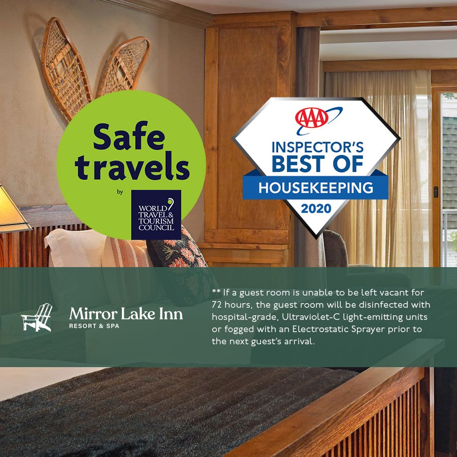 Safe Travels approved by the World Travel & Tourism Council for Mirror Lake Inn with AAA Inspector's Best of Housekeeping 2020 badge