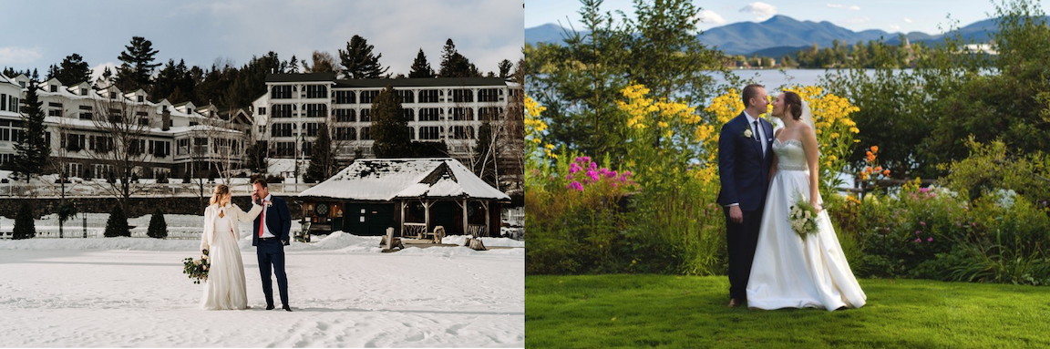 Split screen of a bride and groom against a snowy Mirror Lake Inn background, and another bride and groom in front of a lake with yellow flowers
