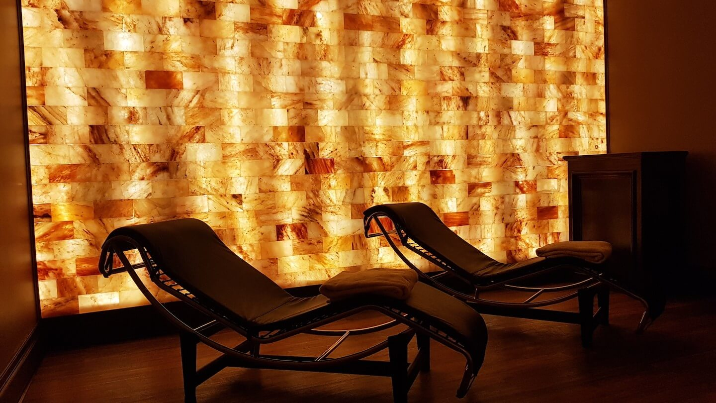 Two lounger chairs in Mirror Lake Inn spa's salt therapy room