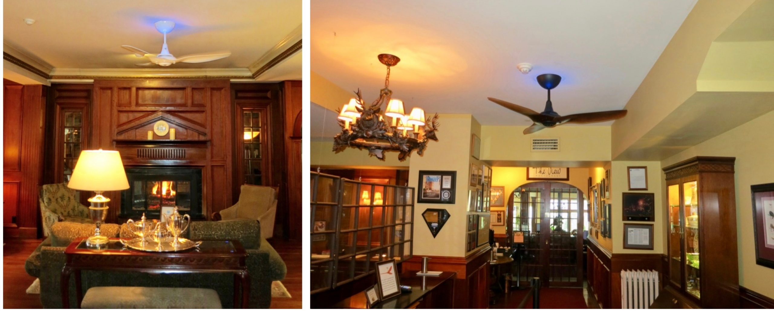 Split image of the hotel lobby and front desk with UV light ceiling fans