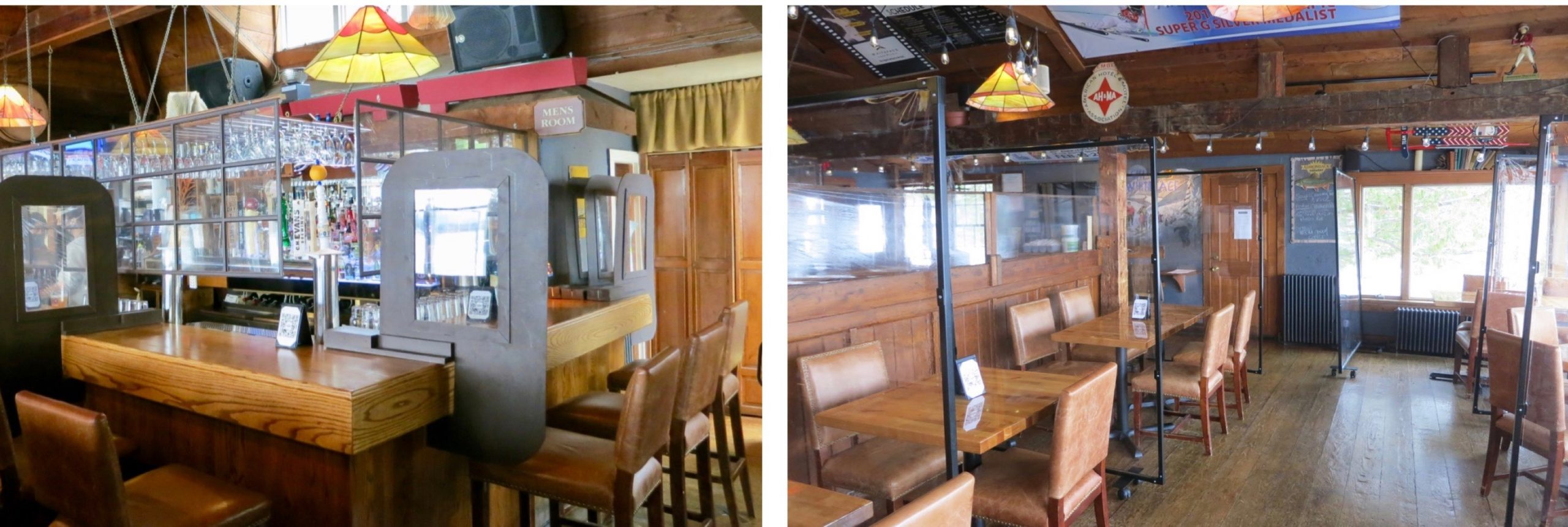 Split screen of a bar and seating area with plexiglass barriers at the Cottage Cafe