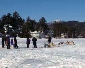 Dog sledding on Mirror Lake in Lake Placid