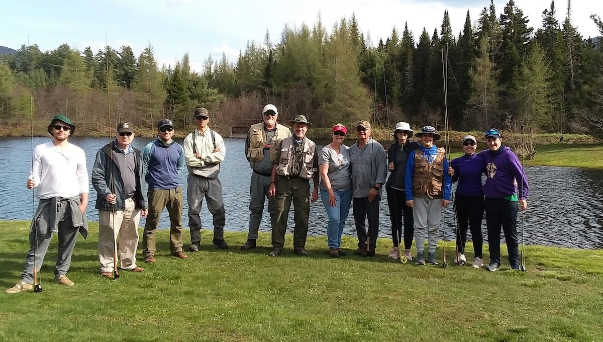 Group of guests at fly fishing school