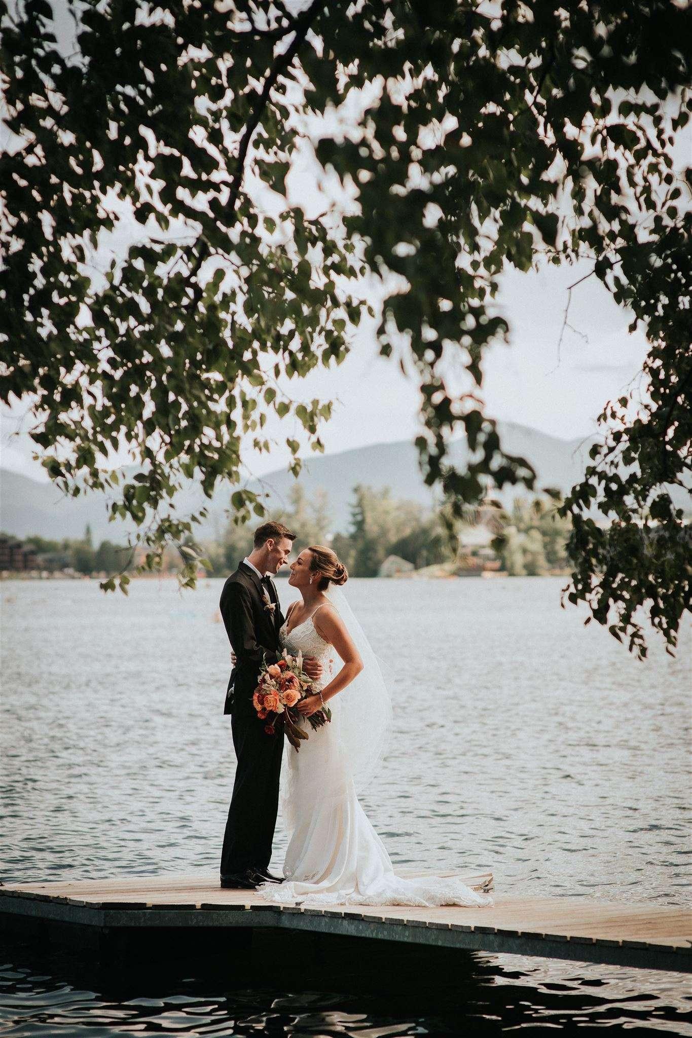 Wedding ceremony along Mirror Lake
