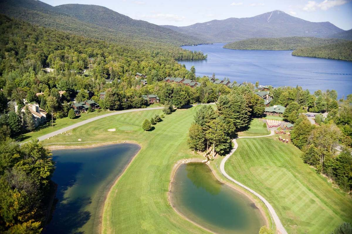 Whiteface Club Golf Course from above next to the lake