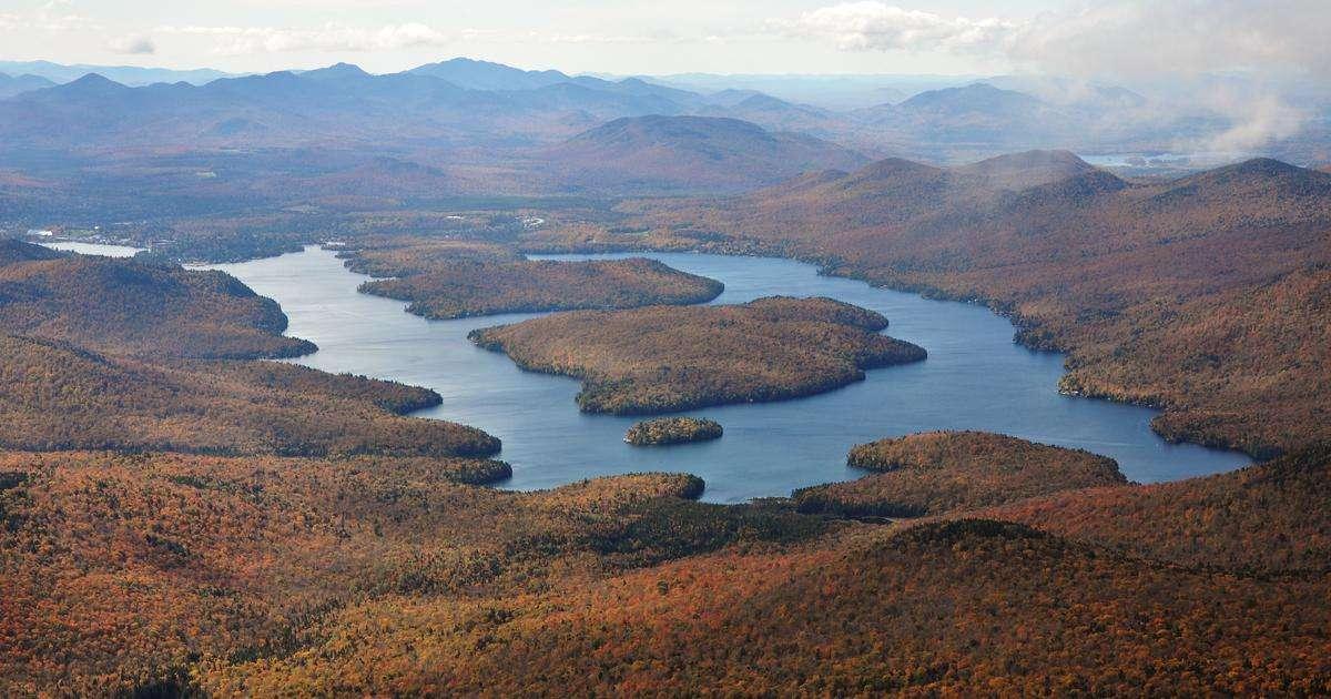 Aerial view of Lake Placid lake