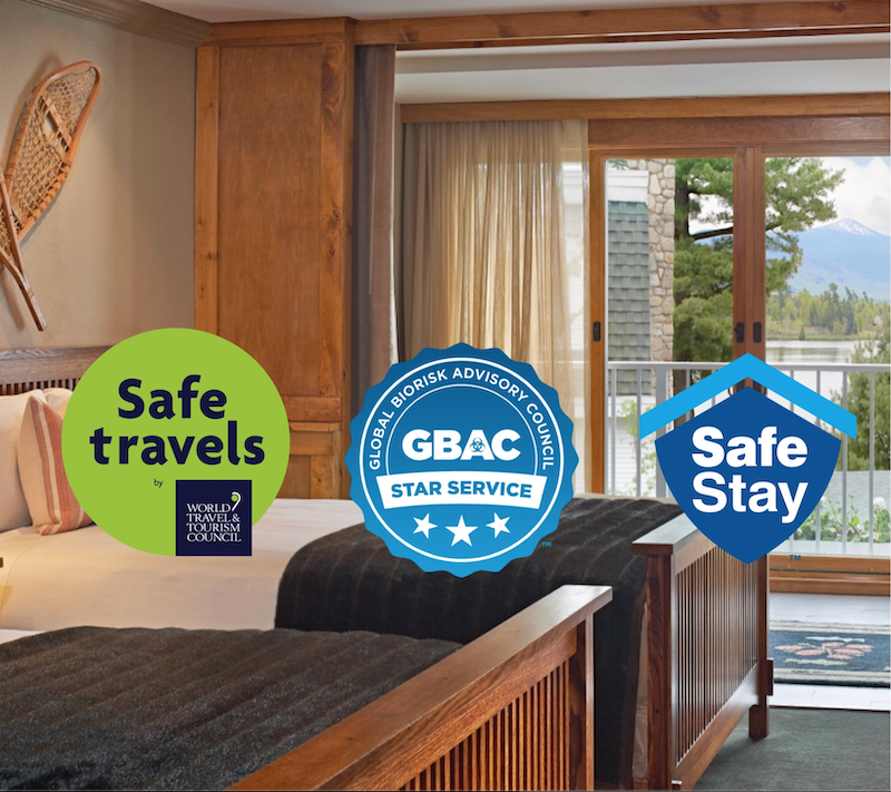 Safe Travels, GBAC STAR and Safe Stay Logos
