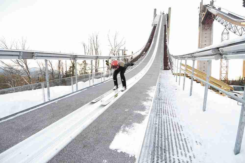 Ski jumper in action