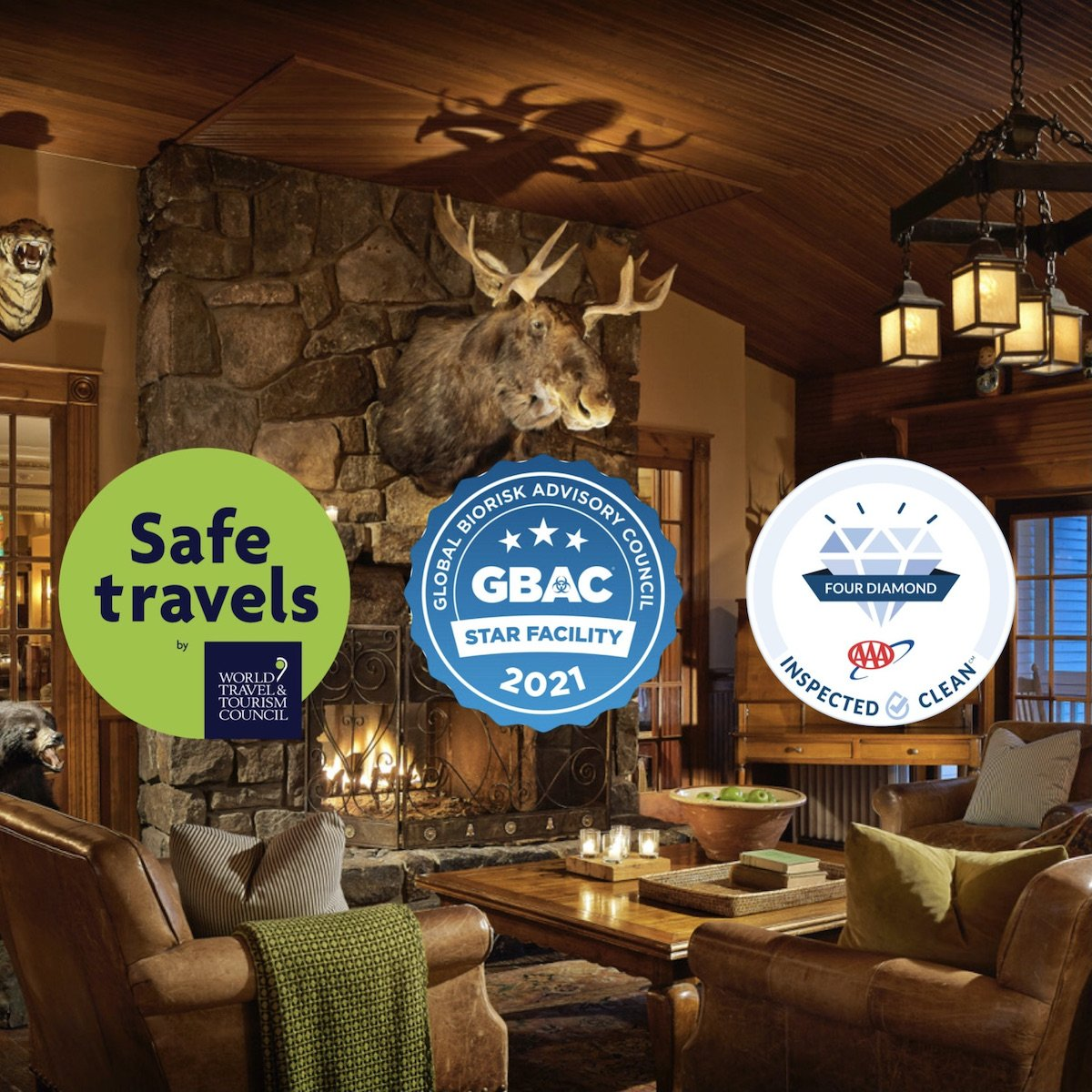 Mirror Lake Inn Library with Safe Travels, GBAC and, AAA Logos